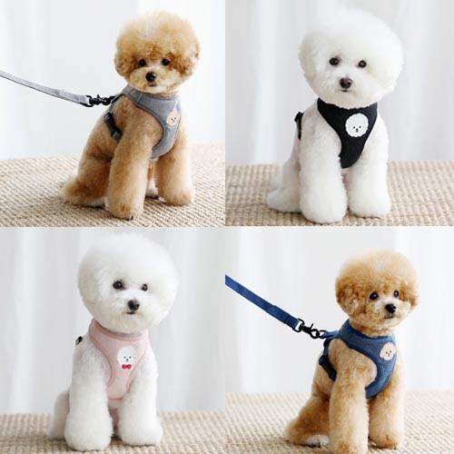 背心式泰迪幼犬遛狗绳胸背带