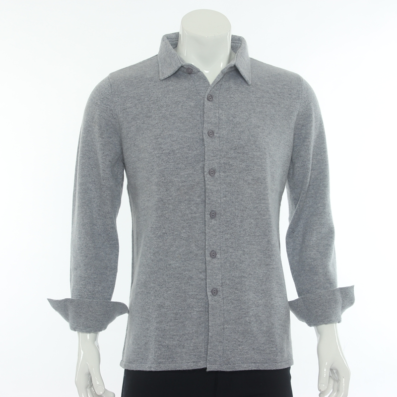 Mens shirt collar 100% Cashmere Cardigan autumn and winter wear Inner Mongolia knitted sweater casual sweater coat