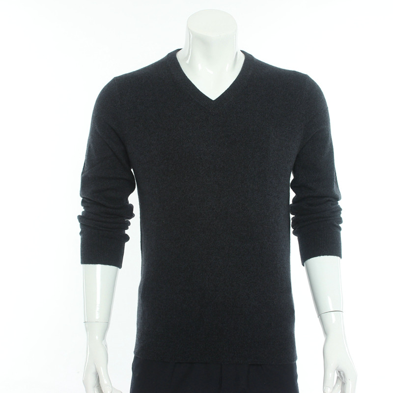 Produced in Erdos cashmere sweater mens V-Neck Sweater autumn and winter knitted bottomed sweater middle-aged fathers dress