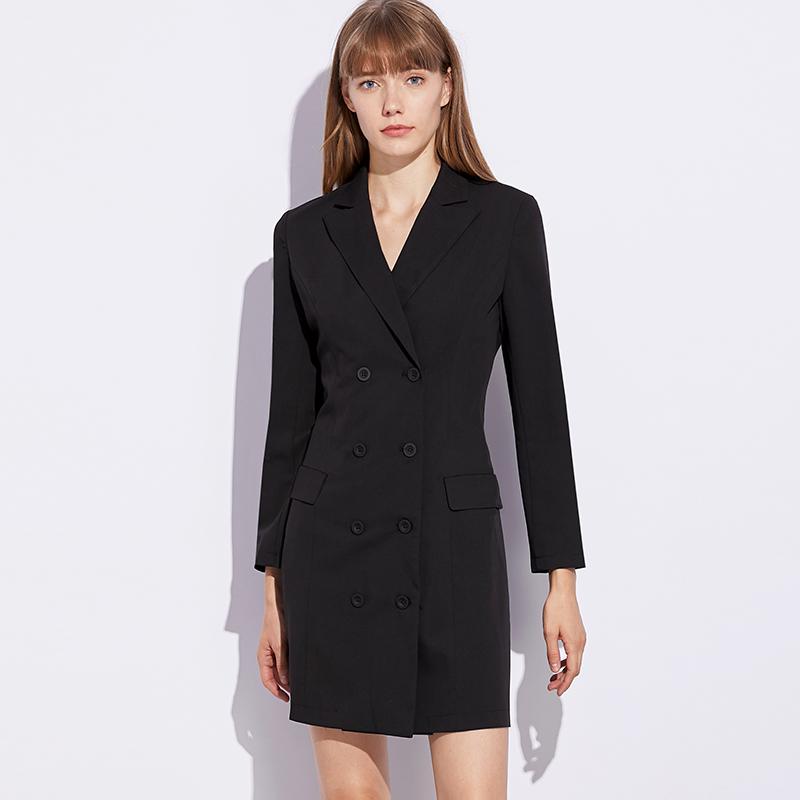 修身西装领小黑裙赫本秋装2019年新款女法式气质职业短黑色连衣裙满5元可用3元优惠券