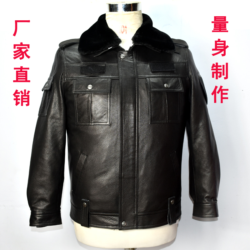Genuine genuine leather winter leather cotton padded jacket mens and womens leather jacket with thick leather jacket