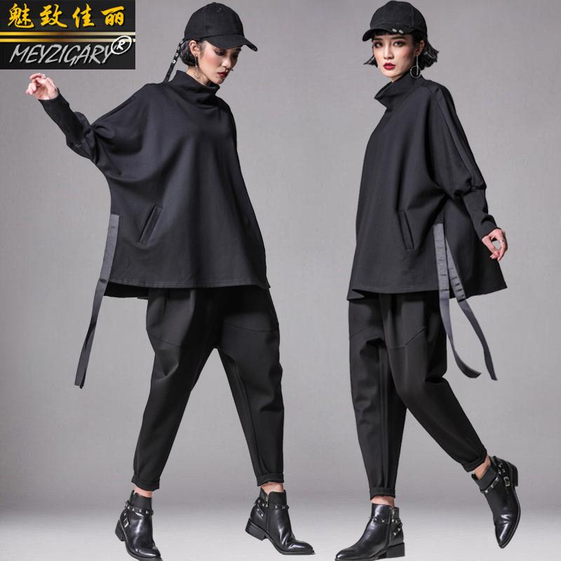 2019春时尚套装女 不规则T恤大码蝙蝠衫上衣哈伦裤垮裤休闲两件套