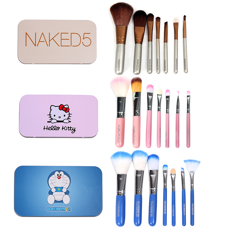 Make up brush set 7 portable iron box package painting professional full set of color make-up tools brush pen beginners
