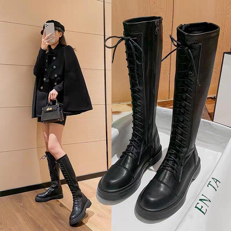 高筒骑士靴女2021新款英伦风增高弹力靴加宽胖mm长筒皮靴马丁靴女