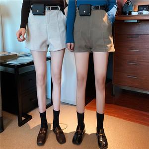 實拍 秋冬百搭顯瘦兩米腿長寬松闊腿毛呢短褲送腰帶