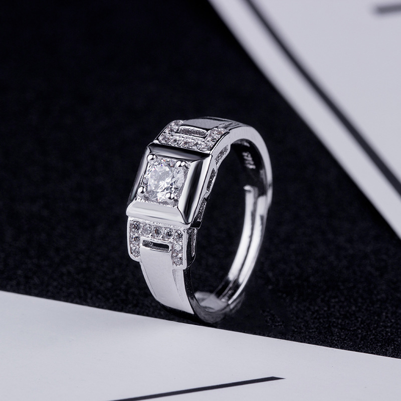 Foreign trade new pop ring opening adjustable mosan diamond ring mens gem silver jewelry free new shelves