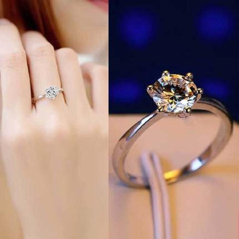 S925纯银戒指女款活口简约日韩版女求婚仿真钻戒渡白金银饰品开口