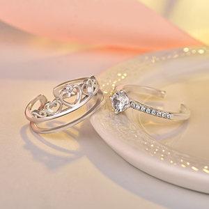 抖音同款皇冠二合一双层组合戒指韩国时尚百搭开口可拆卸食指戒女