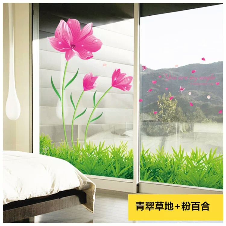 Living Room Bedroom Balcony Window Decorations Stickers Wall Stickers  Creative Glass Stickers Window Sliding Sliding Door Window Stickers