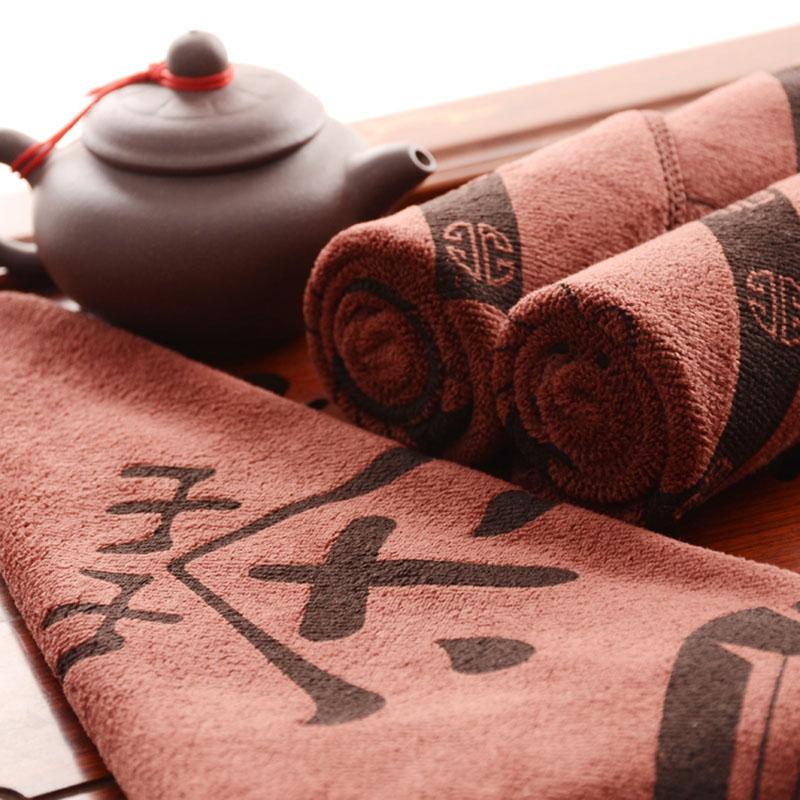 Tea towel tea tablecloth (buy two hair four) water absorption thickening tea set tea towel tea table Kung Fu dishcloth with hook accessories