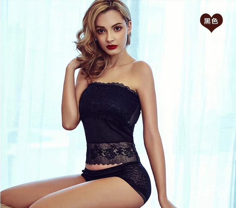 Summer light proof bra vest lace long breast wrapped lace bottom with suspender