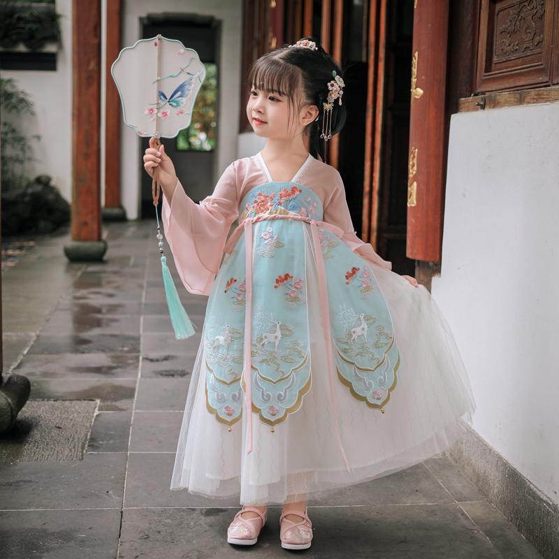 茗楠之家汉服女童古装超仙连衣裙古风仙气马面裙儿童中国风襦裙