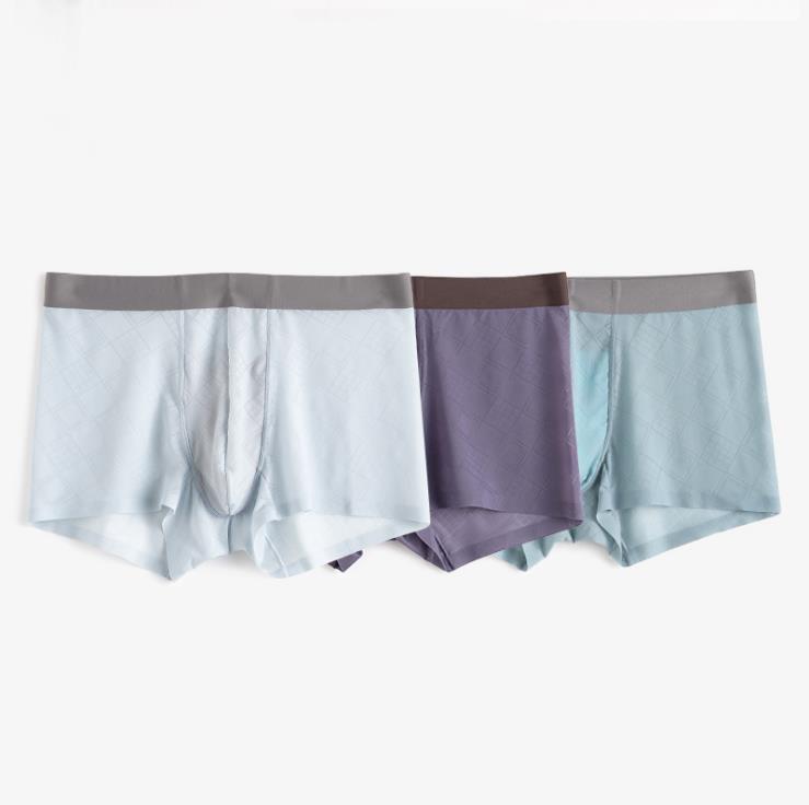 3条装 冰丝透气男士内裤方格纹理冰爽一片式舒适四角平角内裤男