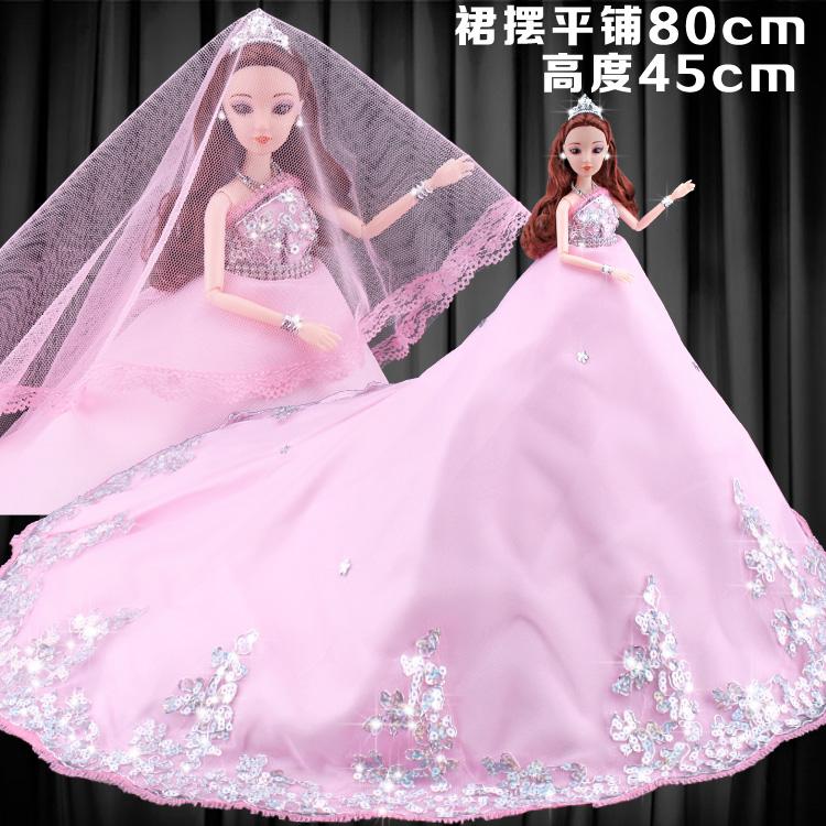 3D真眼克时帝芭比娃娃大婚纱衣服礼盒套装洋娃娃女孩玩具礼物单个