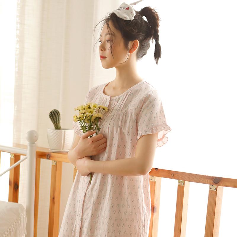 10-19新券夏天睡裙纯棉纱布短袖宽松睡衣裙子
