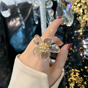 高级感奢华欧美大花朵水晶开口食指戒指ins潮网红冷淡风指环女