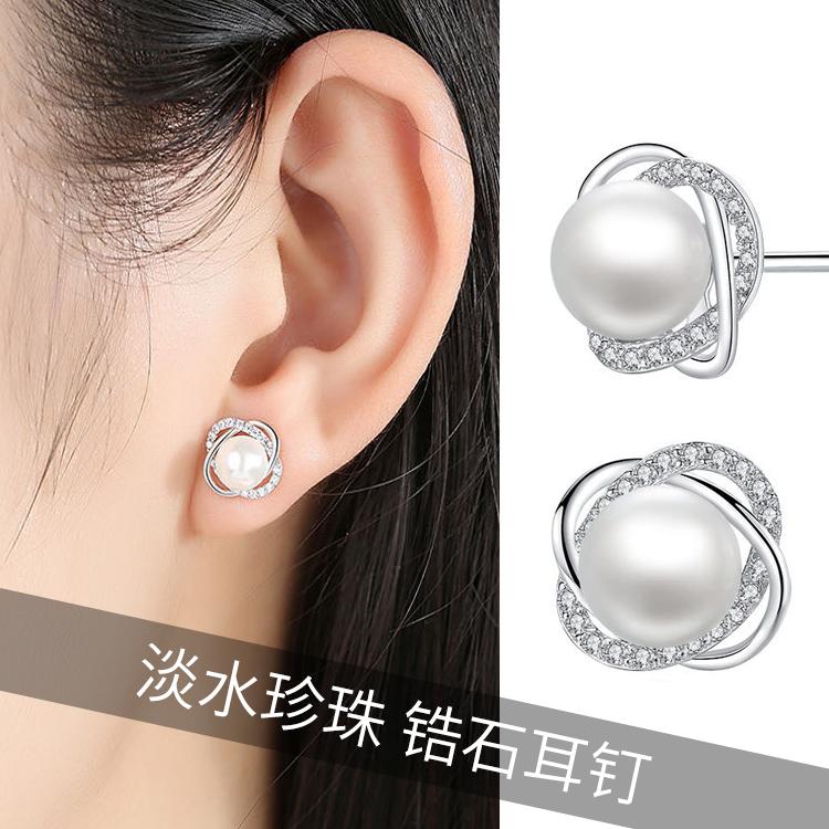 锆石天然珍珠耳钉耳环2020新款经典复古