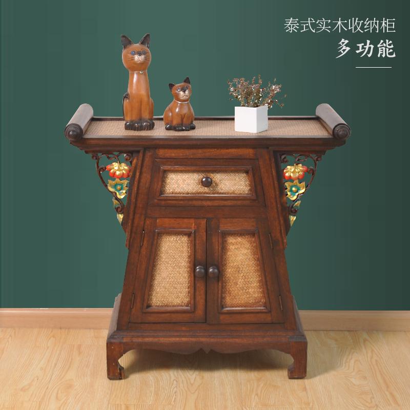 泰国实木家用东南亚风格玄关柜供桌