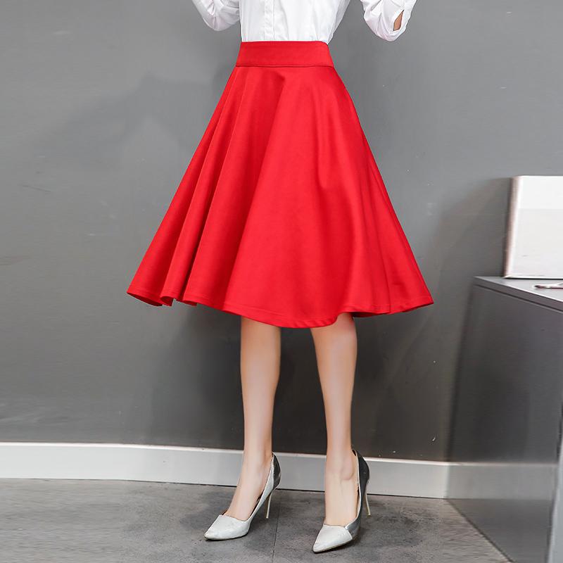 实拍2018春装新款高腰长款半身裙女时尚纯色气质百搭A字大摆裙子