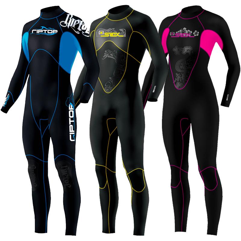 热销27件买三送一5mm半干式潜水服3mm浮潜湿衣加厚防寒防晒男女冬季保暖连体游泳衣