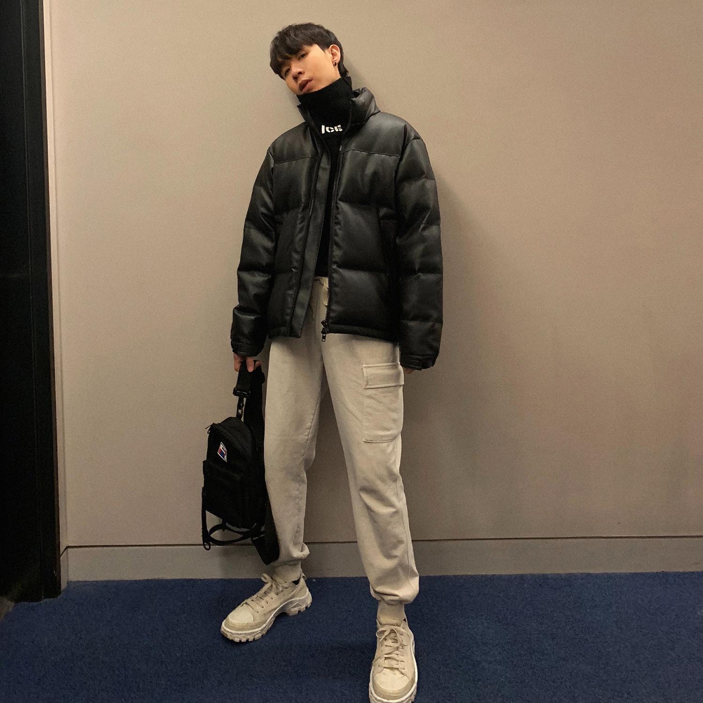 CCJE冬季pu皮衣棉服男短款外套加厚面包服韩版宽松立领棉衣棉袄潮