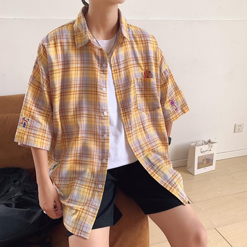 新款网红小恐龙刺绣格子衬衫男韩版夏季薄款设计衬衣C606-P40