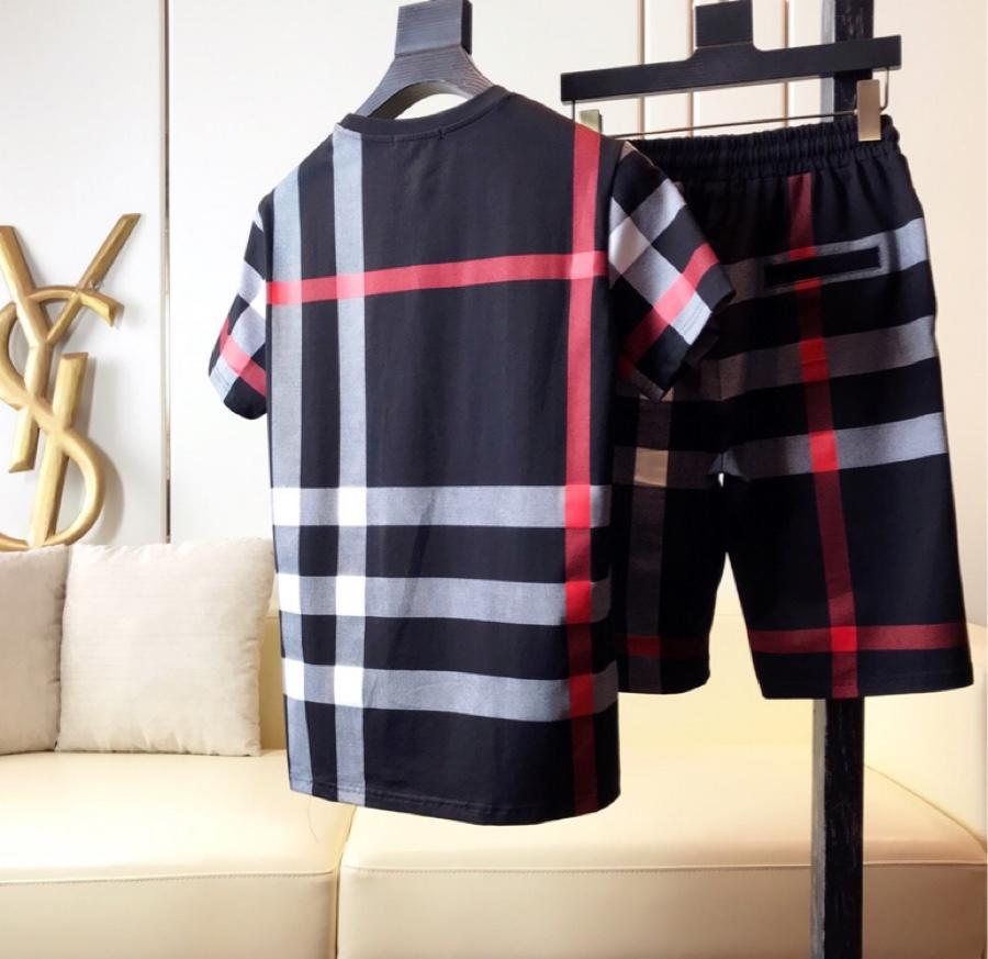 European station Plaid print short sleeve mens casual shorts T-shirt fashion brand half sleeve mens large stripe suit