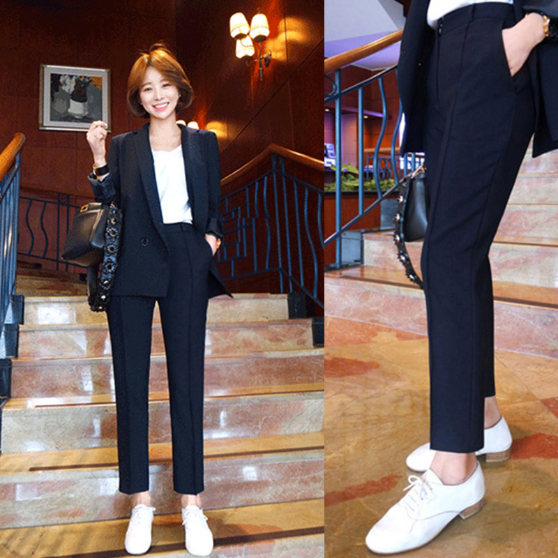 2021 spring Korean small suit womens double breasted Lapel slim temperament casual fashion two piece suit