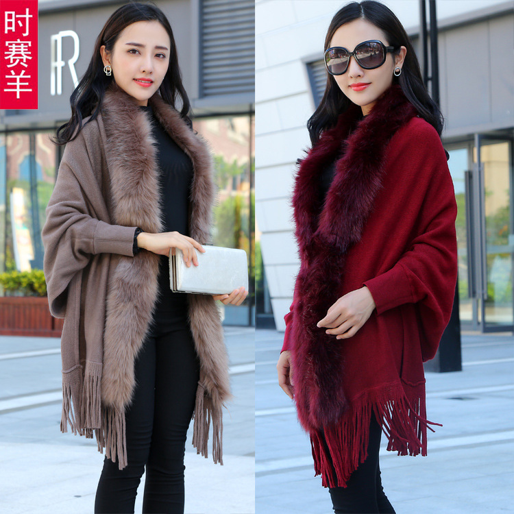 Lnqjntowcc womens wool collar solid wool thickened bat sleeve Cape cape coat for women autumn winter