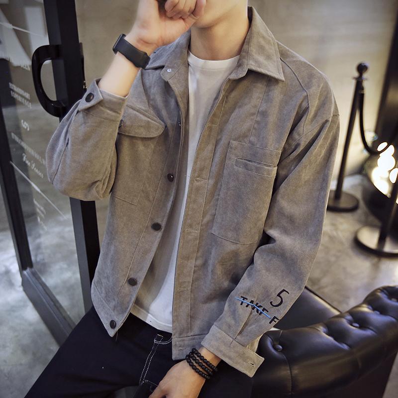 春季2018新款燈芯絨外套男韓版學生男士夾克外衣潮流帥氣修身衣服