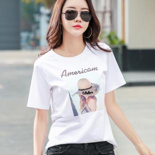 美欧哥弟菲女装专柜正品2020新款韩版宽松白色t恤女短袖纯棉上衣