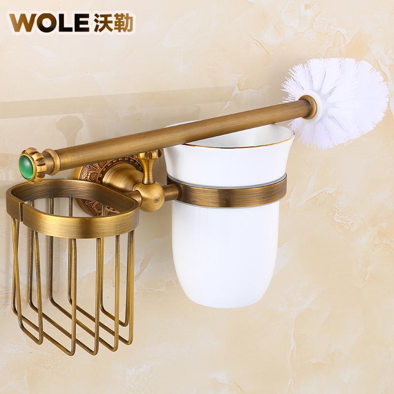 全铜仿古马桶刷架套装欧式复古马桶杯架中式卫生间五金挂件厕刷架