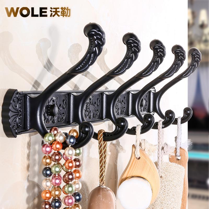 黑色掛衣鉤美式複古衣鉤歐式排鉤壁掛衣帽鉤門後牆壁客廳衣櫃掛鉤