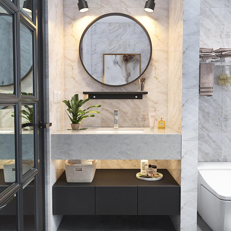 定制大理石浴室柜组合智能镜卫浴柜卫生间洗漱台洗手盆柜洗脸盆柜