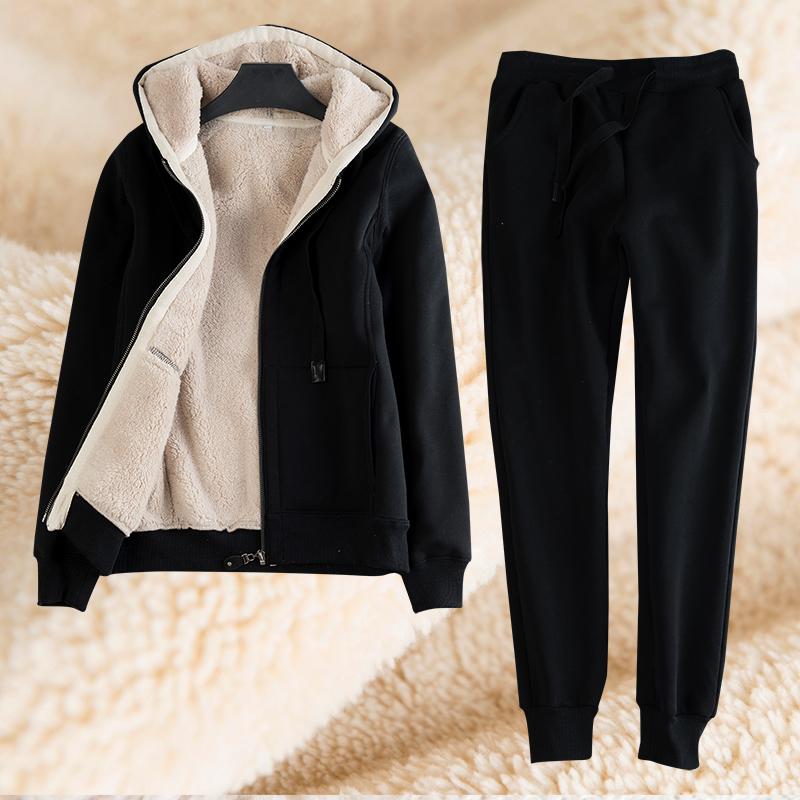 加绒加厚运动套装女2020冬季休闲帽衫拉链保暖羊羔绒卫衣两件套潮