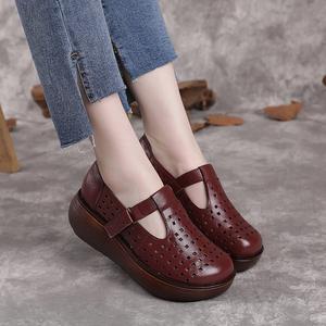 厚底女凉鞋镂空透气圆头女鞋真皮夏季凉皮鞋民族风洞洞鞋复古鞋子