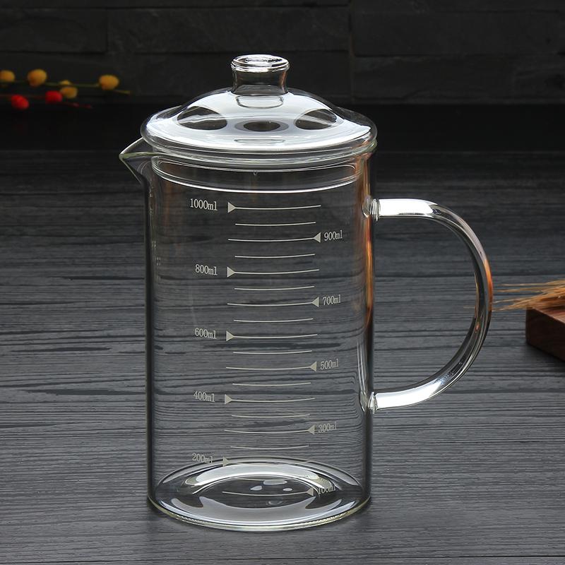 加厚带刻度的耐热玻璃量杯可微波炉加热带把大容量牛奶杯1000毫升