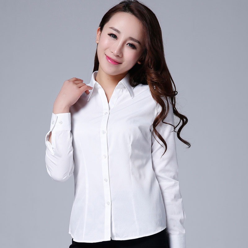 Haopai professional shirt womens long sleeve formal dress V-neck slim pure white stripe oversized size shirt tooling