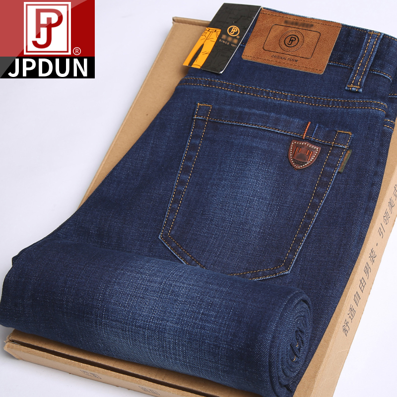Jpdun spring jeans mens straight tube loose elastic spring and autumn middle aged mens casual versatile long pants mens