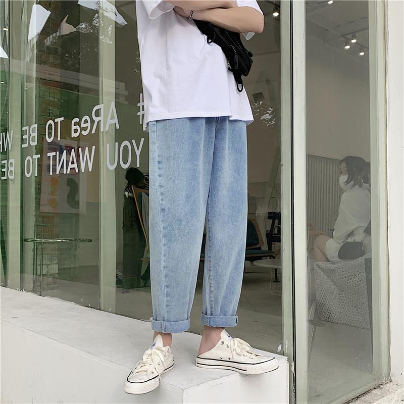1008-1-c365-p30 牛仔裤男潮牌韩版宽松九分裤直筒港风痞帅男裤子