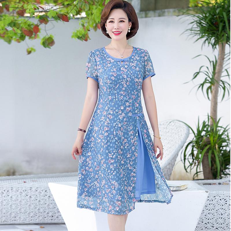 妈妈夏装裙子高贵阔太太连衣裙2020新款气质舒适女装裙L2493/P120