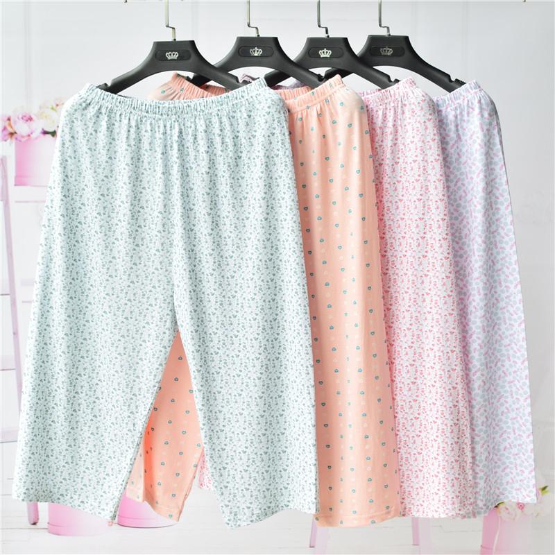 中老年人女纯棉七分睡裤妈妈宽松敞口家居裤奶奶高腰薄针织肥腿裤