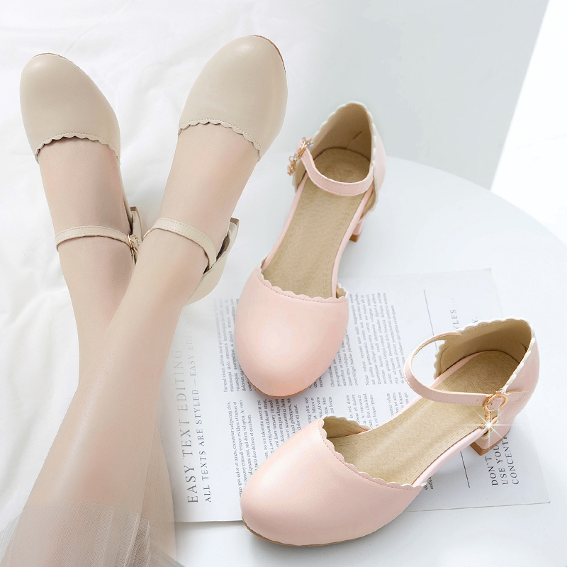 Take a picture of 79 yuan! Spring and summer Baotou sandals small fresh high heels cross ties thick heels round head comfortable single shoes