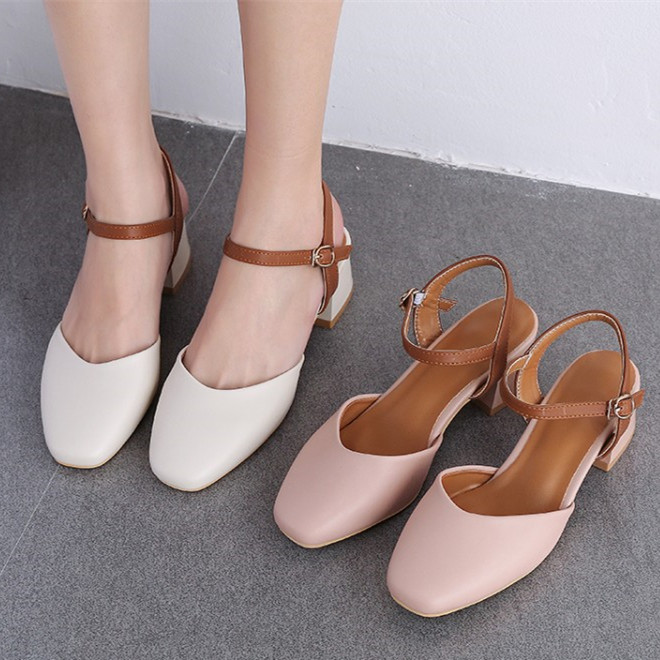 Take 89 yuan! Sandals women 2020 new summer fairyland shoes with soft middle heel, thick heel and small high heel
