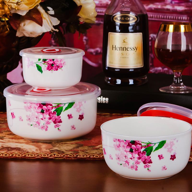 景德鎮陶瓷保鮮碗三件套保鮮盒陶瓷帶蓋碗便當盒密封盒泡麵碗飯碗
