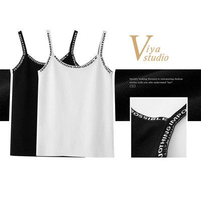 薇娅viya定制字母针织吊带衫 QSS007160