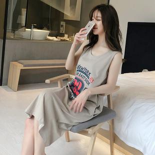 韓版吊帶睡裙女夏純棉清新性感睡衣夏季可愛無袖背心長裙薄款學生