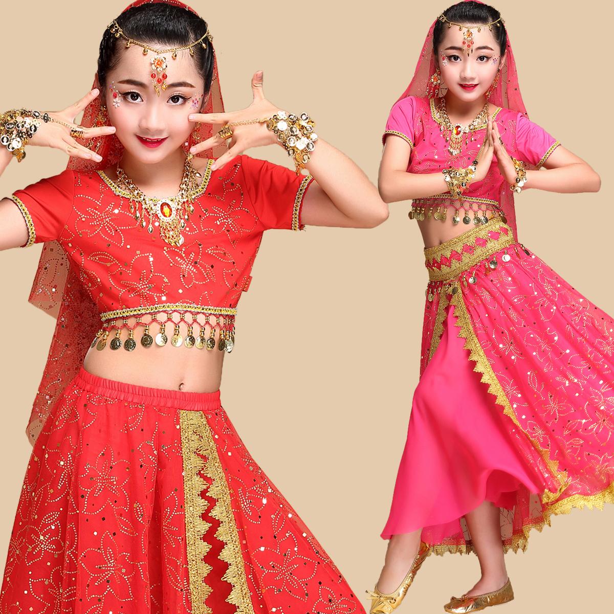 幼磁女_少儿少数民族表演服饰印度肚皮舞台服装幼儿童新疆舞蹈演出服装女