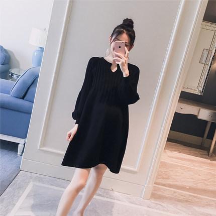 孕妇装2018秋装新款韩版竖纹理纯色A版针织宽松孕妇中长款连衣裙