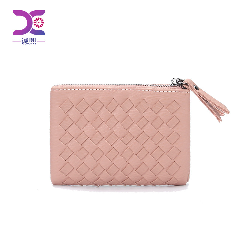 Europe station fashion ultra thin double zipper with two fold Wallet Bag 2020 new fashion woven womens short Purse